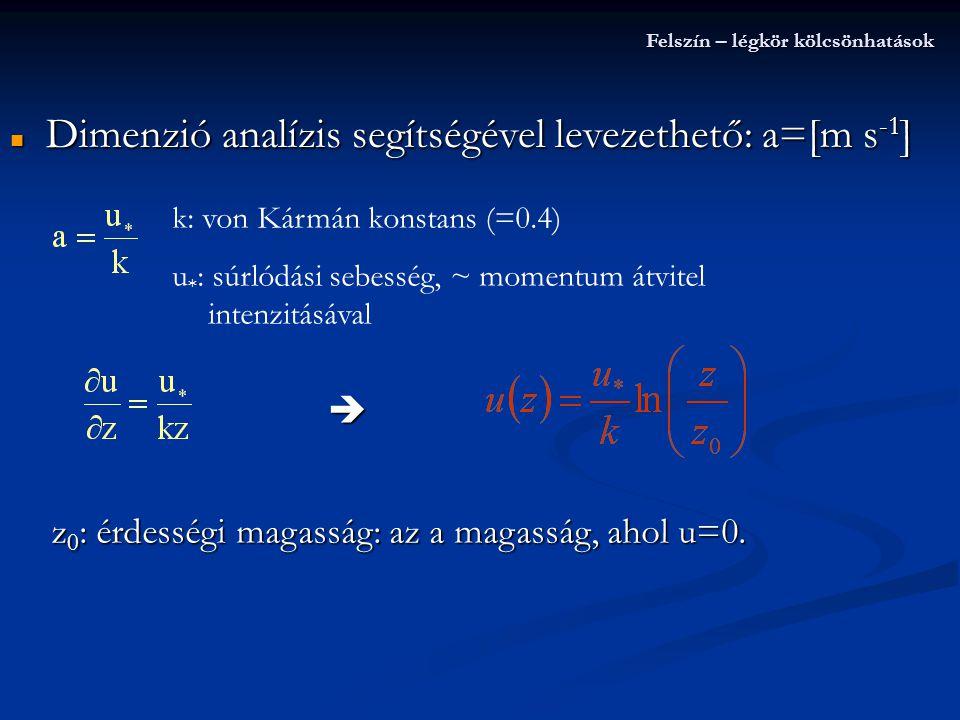 Dimenzió analízis segítségével levezethető: a=[m s-1]
